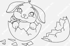 Easter Bunny Coloring Pages   ... Free Stock Photo of Easter bunny surprise. Coloring page: PhotoSpin