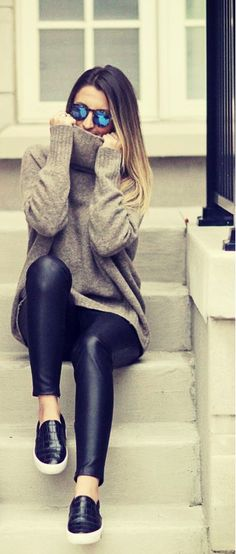 25 Fall fashion ideas for 2016-2017 Fall Fashion Outfits, Winter Outfits, Fashion Ideas, Winter Fashion, Fall Styles, Winter Wear, Cas, Leather Pants, Leather Tights
