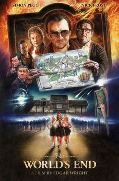 """The World's End - movie poster - Paul Shipper. Also, never listening to """"Alabama Song"""" the same way again. (*****I'd love this poster for my room*****) All Movies, Great Movies, Horror Movies, The World's End Movie, I Movie, Cultura Pop, Star Trek Poster, Non Plus Ultra, Simon Pegg"""