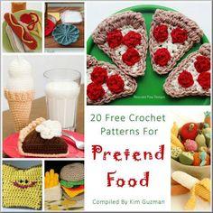 20 free crochet patterns for Play Pretend Food http://kimguzman.com/blog/link-blast-20-free-crochet-patterns-for-pretend-food/