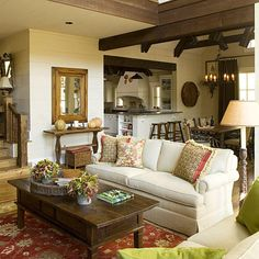 Family Room - North Carolina Cottage Interiors: 2009 Southern Home Awards - Southern Living Cottage Living Rooms, Cottage Interiors, Home And Living, Living Room Decor, Living Spaces, Cozy Living, Bungalow Interiors, Cottage Homes, Living Area