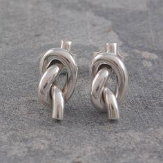 knot sterling silver large stud earrings by otis jaxon   notonthehighstreet.com