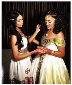 African Ethiopian Habesha Brides And Weddings Ethiopian Wedding Dress, Ethiopian Dress, Ethiopian Traditional Dress, Traditional Dresses, Bridesmaid Dress Colors, Africa Fashion, Wedding Goals, International Fashion, Women Wear