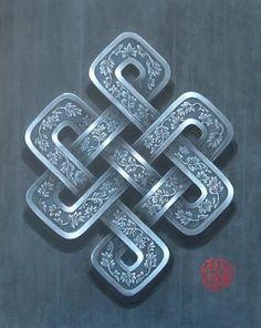 Noeud Infini argent (Peinture), 92x73 cm par Françoise Le Mée Noeud infini argent, symbole bouddhiste de la loi de cause à effet, de l'interdépendance de tous les phénomènes. Peinture acrylique sur toile de lin