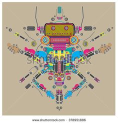Vector colorful guitar machine robot design
