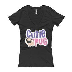Cutie Pug Women's V-Neck T-shirt – Multi Color