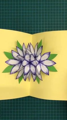 DIY PAPER FLOWER Use hard paper to make a flower stereo greeting card. Save it, as a gift to your Diy Crafts Hacks, Diy Crafts For Gifts, Diy Home Crafts, Diy Arts And Crafts, Creative Crafts, Crafts For Kids, Diy Projects, Hard Crafts, Creative Ideas