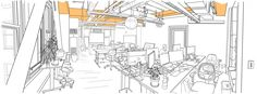 Portent Inc. Creative Services Room: Quick Fixes for Workspaces - Existing Conditions Diagram: Dark Beams, Visual Compression