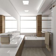 Luxusní koupelna BEIGE DELUXE - Pohled z vany na umyvadlo - noční