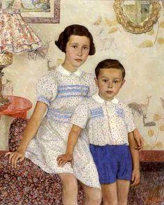 Leon de Smet (Belgian artist, 1881-1966) - Two Children in an Interior