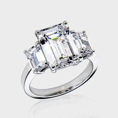 Gorgeous! 3.0 Ct. Emerald-cut 14K Three Stone CZ Ring