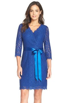Adrianna Papell Wrap Lace Dress (Regular & Petite) available at #Nordstrom