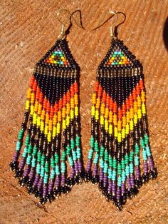 Native American seed beaded rainbow beauties by daughterofthesun