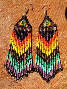 Native American seed beaded rainbow beauties by daughterofthesun