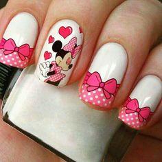 Mickey Nails, Minnie Mouse Nails, Star Nail Designs, Fall Nail Art Designs, Rose Nail Art, Rose Nails, Disney World Nails, Fun Nails, Pretty Nails