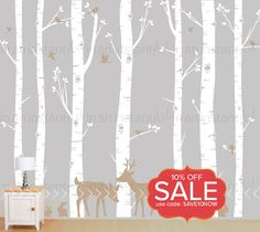 Seven Birch Tree Wall Decal with Deer and Bunny by InAnInstantArt