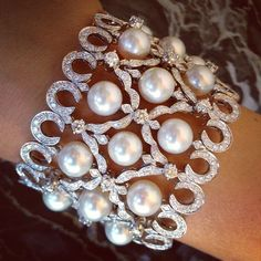 ORLOV jewelry - bracelet with white south sea pearls set with diamonds in white gold