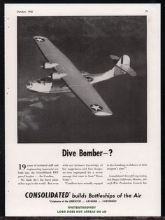 1944 WW II Consolidated CATALINA PBY Patrol Bomber WWII WW2 Aircraft Aviation AD