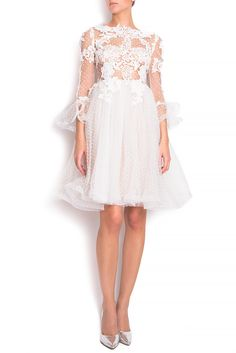 Embroidered lace and tulle mini dress - Midi Dresses made to measure