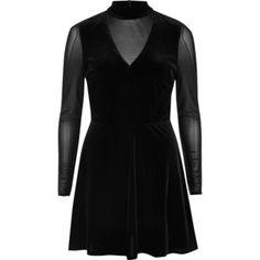 River Island Black velvet mesh long sleeve skater dress