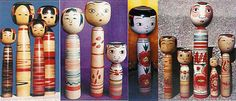 Tsuchiyu-kei Kokeshi Some of the huge variety of painting styles of Tsuchiyu in first picture and left one in second photo. All the rest are Nakanosawa sub-strain. In second photo, the center one is by Iwamoto Yoshizô, son of the founder of this style. The blush around the eyes has faded.