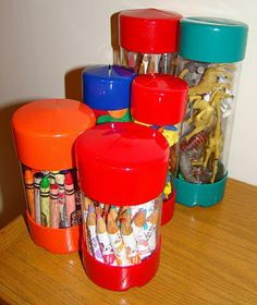 Use cans with plastic lids or plastic baby-wipe boxes to hold buttons, threads, nuts, nails, screws, washers and small project items.