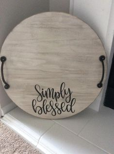 Farmhouse Serving Trays, Serving Tray Wood, Wood Tray, Round Wooden Tray, Kitchen Tray, Wooden Decor, Wooden Signs, Rustic Decor, Wood Rounds