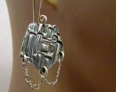 Aztec Style Fine Silver Dangling Earrings Collection Lightweight Hand Sculpted…