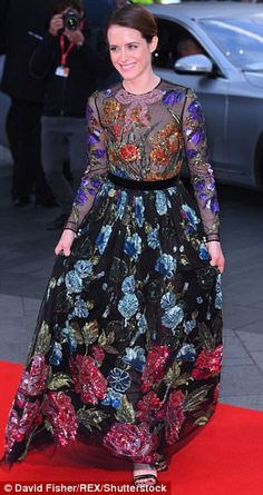 Slender: Cinched in at the waist by a slender velvet belt, it made the most of her slender physique, and she added a racy touch appearing to go braless under the semi-sheer bodice The Crown Elizabeth, Clare Foy, The Crown 2016, Trendy Dresses, Formal Dresses, London Film Festival, Andrew Garfield, Velvet Tops, Celebs