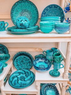 Get inspired by its beautiful colors. Santorini home decor with amazing turquoise ceramics and hand painted plats. Bohemian Interior, Bohemian Decor, Home Decor Accessories, Decorative Accessories, Shades Of Turquoise, Teal, Blue, Color Azul, Unique Home Decor