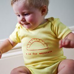 E is for Empanada Baby Onesie (Light Yellow) - Latin, Hispanic, South America, Argentina, Spain. $20.00, via Etsy. Garbella designs