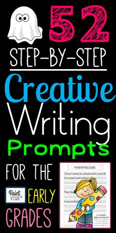 $5.99 on TpT - Confidence-Boosting STEP-BY-STEP Creative WRITING Prompts for the Early Grades. Ideal for independent work! Offers help with inspiration, ideas, spelling, handwriting, getting started with fiction, adding some length and body, widening one's topic range and getting into a writing routine. Common Core aligned! Click on the image to see examples of my three-step prompts and WORD LISTS providing inspiration and spelling support for young story tellers!