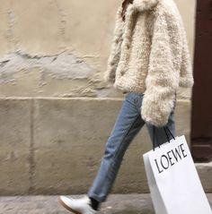 Faux fur jacket Jeans