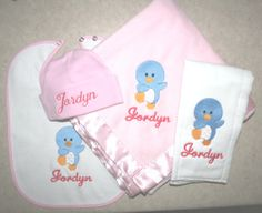 personalized baby blanket bib burp cloth and hat set penguin or you choose design on Etsy, $39.99