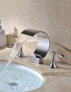 Luxuryclassic Chrome Finish Deck Mounted 3 Pieces Waterfall Hot and Cold Taps Bathroom Sink Faucet Water Tap CSZ >>> You can get additional details at the image link.