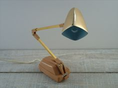 Vintage Small Articulating Desk Lamp ~ Mid Century Gold Tone ~ Adjustable Office Lighting Decor by RetrOAmyO on Etsy