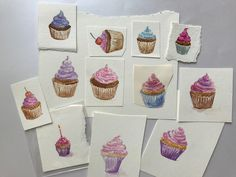 Cupcakes galore!  Developed these into some cards