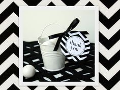 printable black + white chevron thank you tags