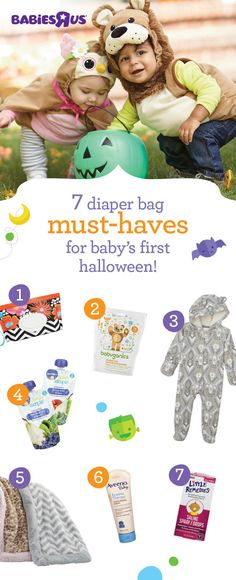 """Keep Halloween happy with these on hand: 1. Wipes—because you'll need them! 2. Hand sanitizer to keep scary bugs away 3. A comfy outfit for when costume fun is done 4. On-the-go snacks to fight the """"hangries"""" 5. Cozy blanket to ward off chilly temps 6. Soothing lotion to protect baby's delicate skin 7. Saline nose drops/spray to keep tiny nasal passages moist"""