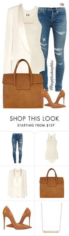 """""""Work to Happyhour II"""" by highfashionfiles ❤ liked on Polyvore featuring Yves Saint Laurent, Rick Owens, Vanessa Bruno, Maison Margiela, Christian Louboutin, Monique Péan, GUESS, women's clothing, women's fashion and women"""