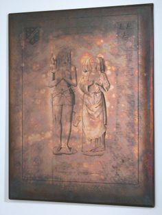 Copper printing plate for engravings, of the Tomb-monument of the 6th Lord Stourton and his wife Agnes at St Peter's church, Stourton. The arms are Stourton and Fauntleroy.