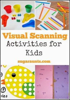 Activities encourage visual scanning to sort, match, and identify objects.