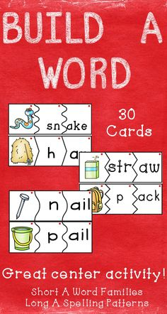 $ These build a word puzzle cards are a great activity for students to do during literacy centers or after completing classwork. They can be used in a pocket chart or on the floor.  Word Families featured in this set are –at, -ag, -am, -an, -ap, -ad, and –ack.  Spelling patterns featured in this set are –ake, -ay, -ail, -ar, and –aw.