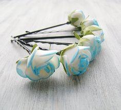 Blanco azul flores Bobby Pins pasadores de pelo por PrettyNatali