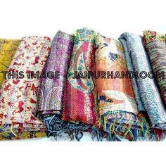 Photo by jaipurkalakendra Patchwork Fabric, Sari Fabric, Jaipur, Tapestry Bedding, Wall Tapestries, Indiana, Handmade Scarves, Silk Shawl, Kantha Stitch
