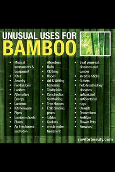 Unusual Uses For Bamboo. In homage to our eco-friendly bamboo yoga items, Pure Yogi is celebrating all things bamboo!  Visit www.PureYogi.com