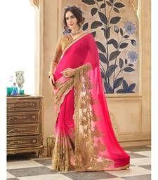 Buy Pink plain chiffon saree with blouse chiffon-saree online