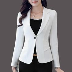 Best 12 Womens Narrow Slim Fit One Button Casual Blazer Size : S to L (slim fit) Material : Polyester Blend Color available : White, Pink , Black Measurement : Size Bust Waist Sleeve Shoulder XS Blazer Vest, Casual Blazer, Blazer Outfits, Blazer Fashion, Fashion Outfits, Fashion 2018, Cheap Fashion, Affordable Fashion, Fashion Clothes