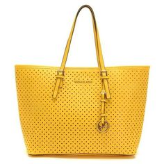 MICHAEL Michael Kors Small Jet Set Perforated Travel Tote Tan