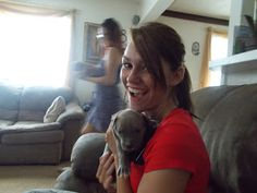 This newborn puppy peed on me.. yeah. good thing I love dogs